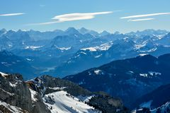 Alpi dello svizzero di inverno Fotografia Stock Libera da Diritti