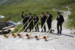 Alpi di Alphorn Fotografia Stock