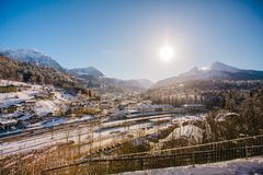 Alpi di Baviera di koenigssee di inverno Immagine Stock Libera da Diritti