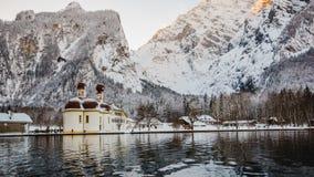 Alpi di Baviera di koenigssee di inverno Fotografie Stock Libere da Diritti