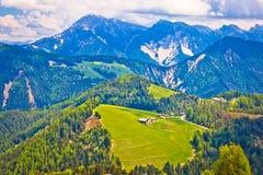 Alpi di Dolomiti nella vista del paesaggio di Alta Badia Immagini Stock Libere da Diritti