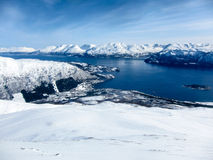 Alpi di Lyngen e fiordi, Norvegia Immagini Stock