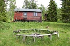 Alpi di Lyngen, Norvegia, cabina nel legno Fotografie Stock