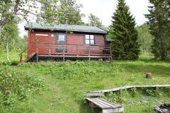 Alpi di Lyngen, Norvegia, cabina nel legno Immagini Stock Libere da Diritti