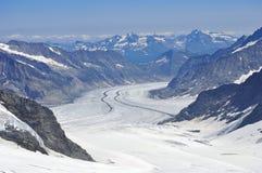 Alpi di Mont Blanc del ghiacciaio Fotografie Stock Libere da Diritti