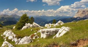 Alpi di Stubai dalle dolomia Fotografia Stock
