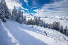 Alpi di Tyrolian in Austria dalla stazione sciistica di Kitzbuehel Fotografia Stock