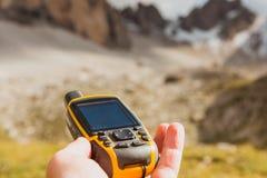 Alpi disponibile delle dolomia del navigatore di GPS Immagini Stock Libere da Diritti