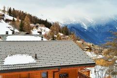 Alpi e La svizzere Tzoumaz, paesaggio Fotografia Stock Libera da Diritti