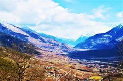 Alpi e La svizzere Tzoumaz, paesaggio Fotografie Stock Libere da Diritti