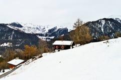 Alpi e La svizzere Tzoumaz, paesaggio di inverno Fotografia Stock