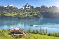 Alpi e lago svizzeri della montagna in primavera Fotografie Stock Libere da Diritti