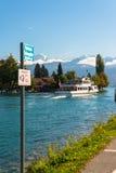 Alpi e lago Thun vicino a Spiez Fotografia Stock Libera da Diritti