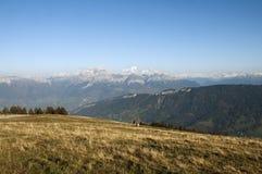 Alpi e Mont Blanc da Semnoz Fotografie Stock Libere da Diritti