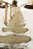 Alpi e scale svizzere nella neve Fotografia Stock