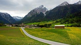 Alpi e villaggio svizzeri Fotografie Stock