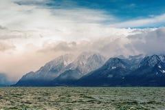 Alpi ed il lago Lemano o Leman francese, Svizzera Fotografie Stock