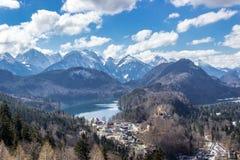 Alpi europee, lago, foresta, paesaggio Immagini Stock Libere da Diritti