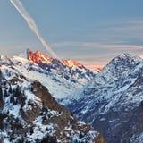 Alpi francesi al tramonto Immagini Stock