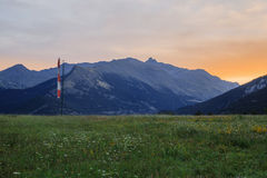 Alpi francesi, montagne di Vanoise ad alba Immagine Stock