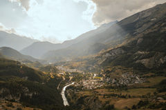Alpi francesi, montagne di Vanoise al tramonto Fotografia Stock