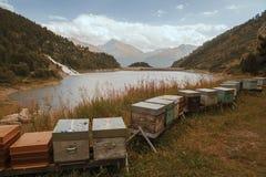 Alpi francesi, montagne di Vanoise, lago, diga Fotografie Stock Libere da Diritti