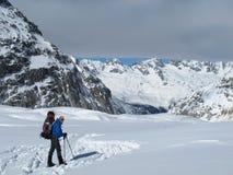 Alpi francesi nell'inverno, Chamonix-Mont-Blanc Fotografia Stock Libera da Diritti