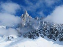 Alpi francesi nell'inverno, Chamonix-Mont-Blanc Immagini Stock Libere da Diritti