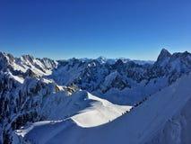 Alpi francesi stupefacenti a Chamonix-Mont-Blanc Immagini Stock Libere da Diritti