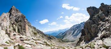 Alpi, Francia (d'Arpette) di Fenetre - panorama Fotografie Stock Libere da Diritti