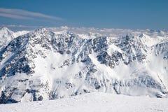 Alpi innevate dell'austriaco dei picchi di montagna di inverno Fotografia Stock Libera da Diritti