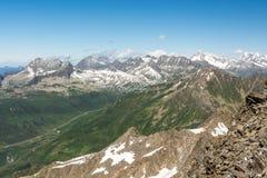 Alpi intorno al passaggio di alta montagna di Oberalpass fra i Cantoni di Uri Immagine Stock Libera da Diritti