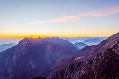 Alpi italiane nel tramonto Fotografie Stock Libere da Diritti