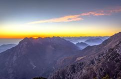 Alpi italiane nel tramonto Immagini Stock Libere da Diritti
