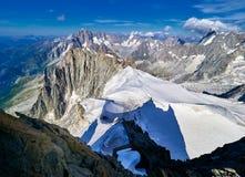 Alpi, Mont Blanc e ghiacciai francesi come visto da Aiguille du Midi, Chamonix-Mont-Blanc, Francia Immagine Stock Libera da Diritti