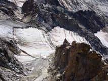 Alpi, Mont Blanc e ghiacciai francesi come visto da Aiguille du Midi, Chamonix-Mont-Blanc, Francia Fotografie Stock Libere da Diritti