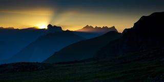 Alpi nel tramonto Fotografia Stock Libera da Diritti