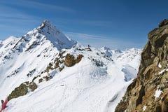 Alpi nell'inverno, Austria di Oetztal Fotografia Stock