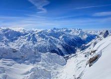 Alpi nell'inverno, vista dal Mt Titlis in Svizzera Immagini Stock Libere da Diritti