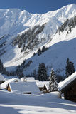 Alpi nevose bianche alla montagna in lechtal Fotografia Stock Libera da Diritti