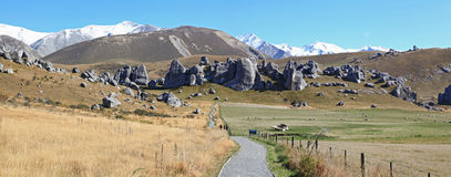 Alpi Nuova Zelanda della collina del castello Fotografia Stock