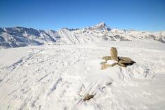 Alpi occidentali italiane nell'inverno Fotografie Stock