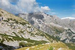 Alpi - Outlook da Watzmannhaus al picco di Hochkalter Fotografia Stock Libera da Diritti