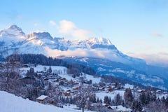 Alpi, paesaggio di inverno Immagini Stock Libere da Diritti