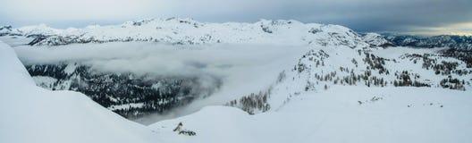 Alpi, paesaggio su Tauplitz Alm, coperto di neve Fotografie Stock