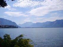 Alpi sul lago Lemano a Montreux Immagine Stock Libera da Diritti