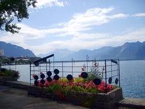 Alpi sul lago Lemano a Montreux Fotografie Stock Libere da Diritti