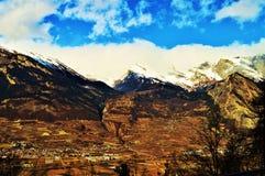 Alpi svizzere circondate dalle nuvole Fotografia Stock Libera da Diritti
