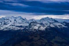 Alpi svizzere con neve Fotografia Stock