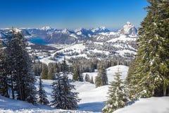 Alpi svizzere coperte da nuova neve fresca veduta dallo sci di Hoch-Ybrig con riferimento a Immagini Stock Libere da Diritti